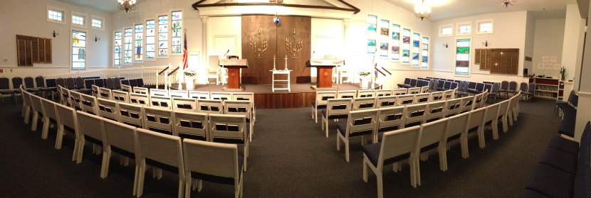 Sanctuary from the back looking towards the bimah.